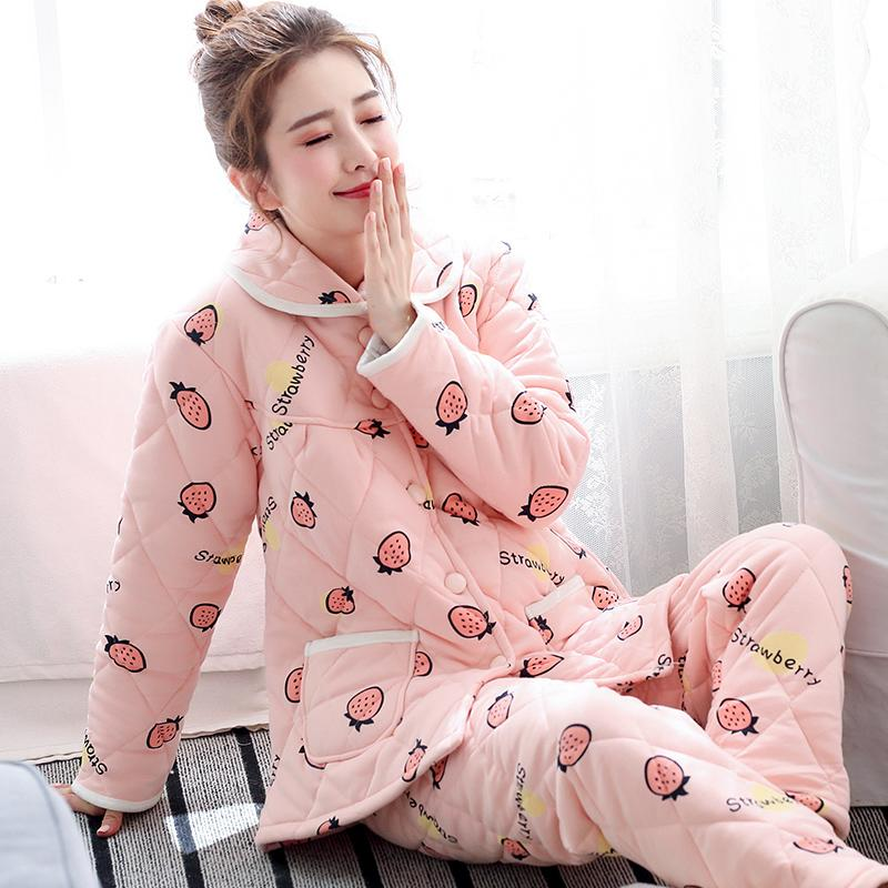 【行運時代】睡衣女士冬季甜美可愛三層加厚針織夾棉襖秋冬款純棉加棉長袖套裝