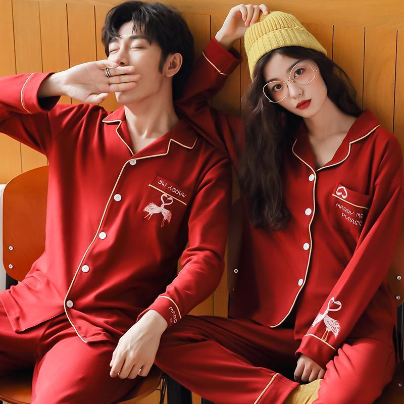 【行運時代】情侶睡衣長袖純棉結婚女秋冬季新婚喜慶紅色男家居服套裝春