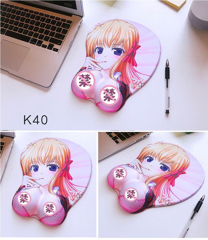【特惠】鼠標墊護腕可愛硅膠胸部美女手枕墊創意卡通動漫3D立體手托墊—行運時代