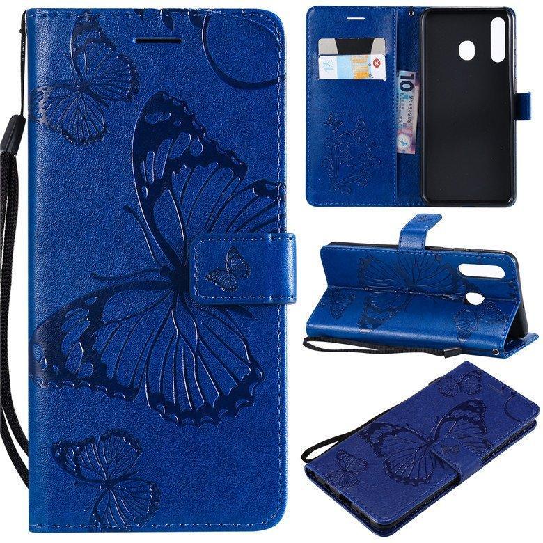 蝴蝶花 Samsung A20 掀蓋手機殼壓花紋SM-A205G後蓋保護殼 三星Galaxy A20 錢包式手機保護皮套