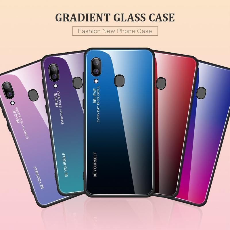 Samsung A20 漸變色玻璃殼 手機殼 SM-A205G玻璃後蓋外殼 鏡頭保護三星Galaxy A20 保護鏡面殼
