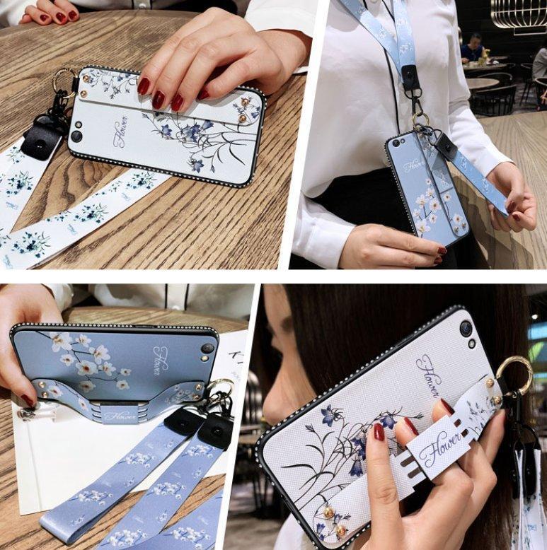 閃鑽腕帶殼 Samsung A20 掛繩女生手機殼SM-A205G 手機鏡頭保護套花藝 三星Galaxy A20 手機套