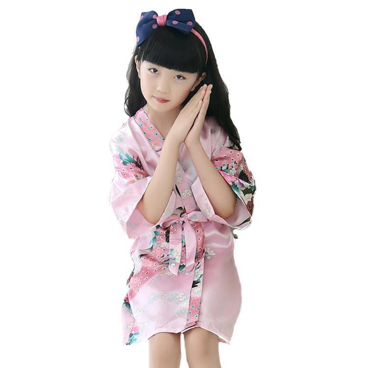 和服女童睡袍睡裙薄款仿真絲綢夏季可愛日式和服公主兒童睡衣家居服