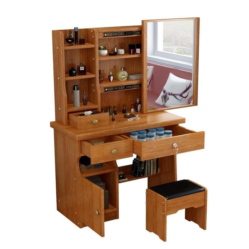 新品梳妝台臥室化妝桌80cm小戶型化妝台簡約現代化妝櫃經濟型桌子
