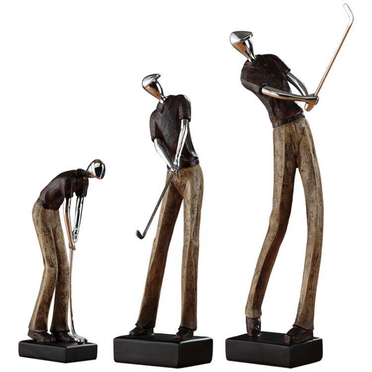 高爾夫雕塑人物歐式客廳電視柜酒柜裝飾品辦公室書柜書架擺件創意