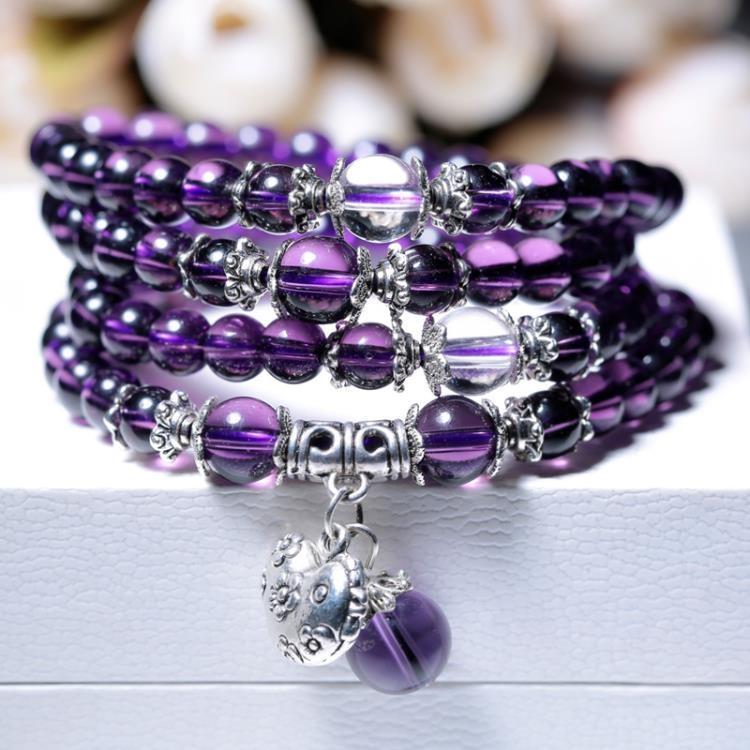 十二生肖守護神 紫水晶多圈佛珠手鍊十二生肖男女款手串飾品生日