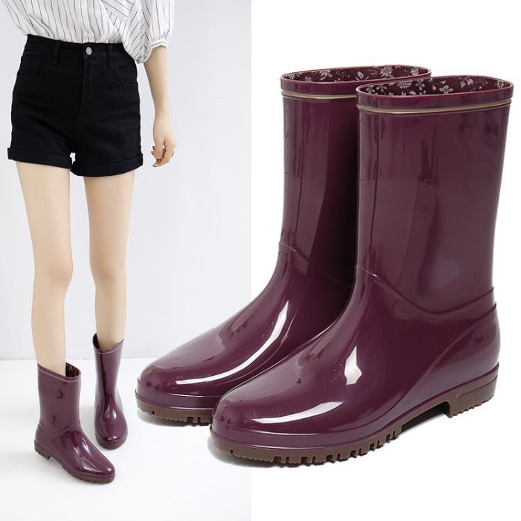 雨鞋女雨牧高分子環保材質雨靴防滑水鞋輕便水靴平跟膠鞋成人中筒女雨鞋