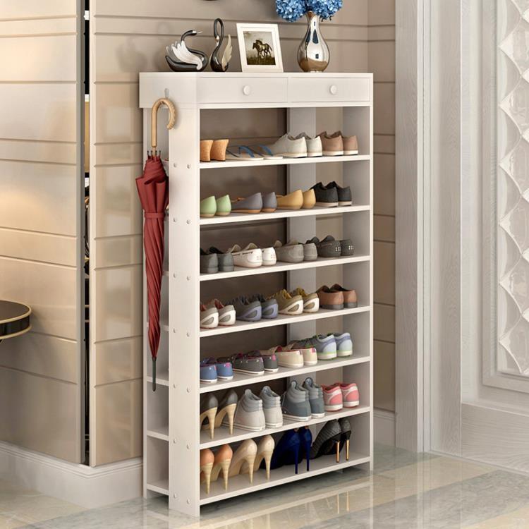 鞋架多功能帶抽屜儲物架防塵多層經濟型收納架簡易展示架鞋櫃