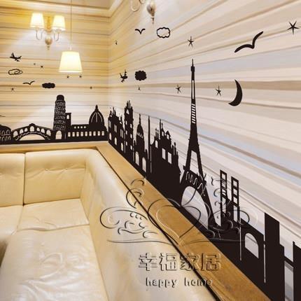 墻貼紙貼畫腰線歐式個性宿舍臥室房間裝飾品創意踢腳線墻腳線自粘