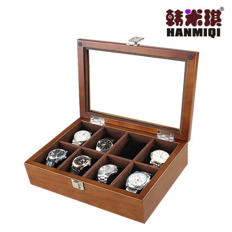 手錶收藏盒韓米琪木質手錶盒手鐲手鍊收藏盒文玩收納盒8格木質包絨帶錶包