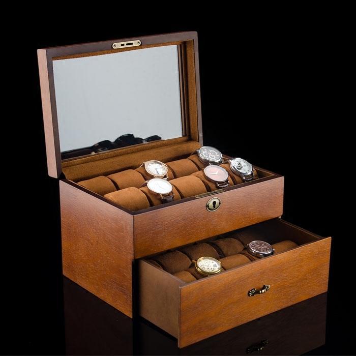 手錶收藏盒實木木質 20錶位高檔手錶盒首飾收納盒收藏盒展示儲物盒