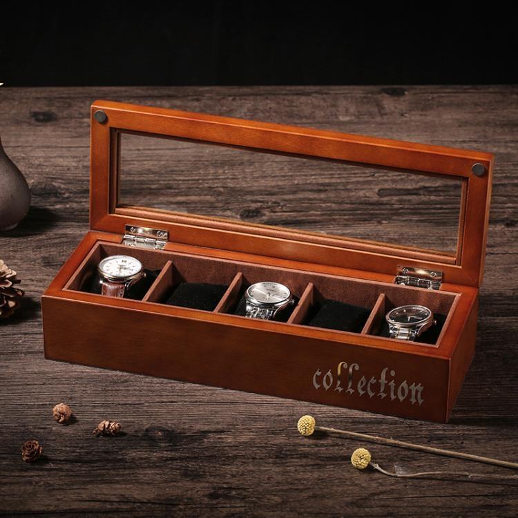 手錶收藏盒手錶盒木質制玻璃天窗手錶盒手串鍊首飾品手錶收納盒子展示盒箱子