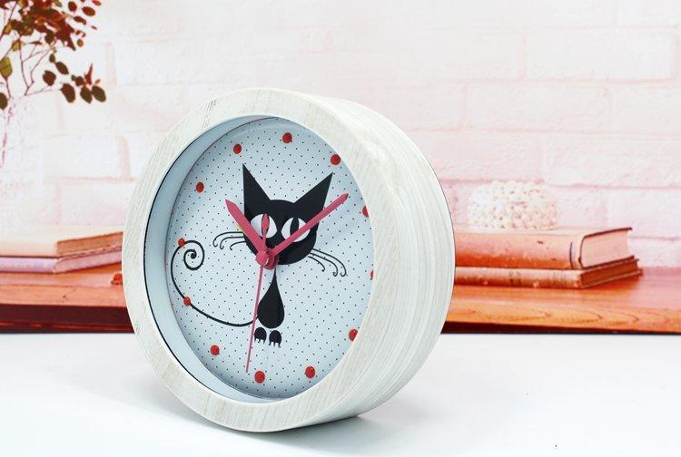 掛鐘座鐘時鐘掛飾時尚創意3D可愛神秘小黑貓木頭鬧鐘 復古懷舊桌面坐時鐘表 靜音 嘉義百貨