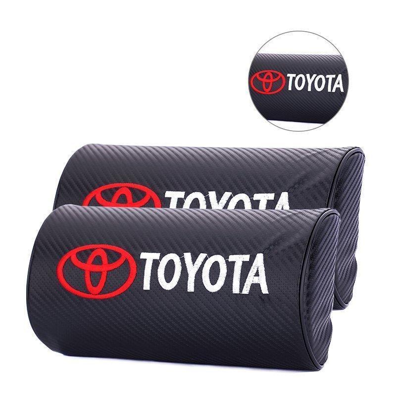TOYOTA豐田ALTIS RAV4.5 CAMRY YARIS VIOS碳纖維紋路汽車標誌頭枕頸座椅頭枕靠枕護頸枕