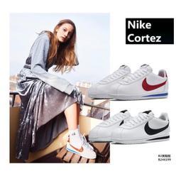 阿甘鞋NIKE CLASSIC CORTEZ LEATHER 皮革材質 阿甘鞋 黑白 休閒鞋男女鞋 皮面阿甘金鉤 情侶鞋