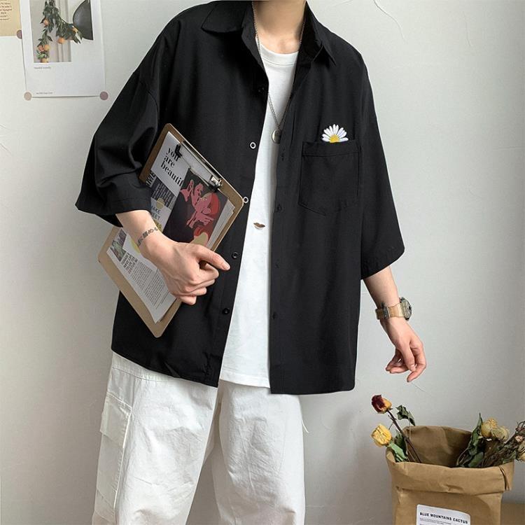 襯衫 夏季小雛菊短袖襯衫潮流百搭寬鬆七分袖襯衣ins休閒男士工裝外套 @可開發票