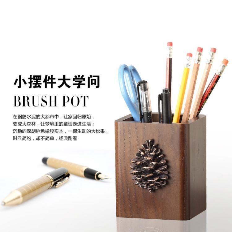 多好創意時尚可愛筆筒實木美式復古木質歐式化妝刷桌面收納盒  免運 可開發票 【易購生活館】