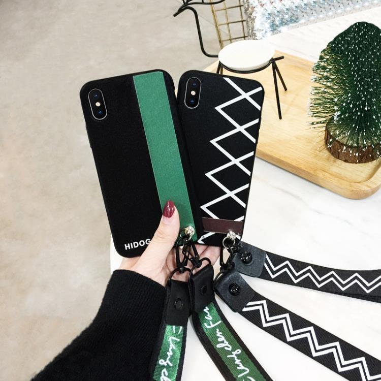 綠紋蘋果x手機殼潮iphonex女款8x全包防摔8plus7plus掛繩6個性創意磨砂  免運 可開發票 【易購生活館】
