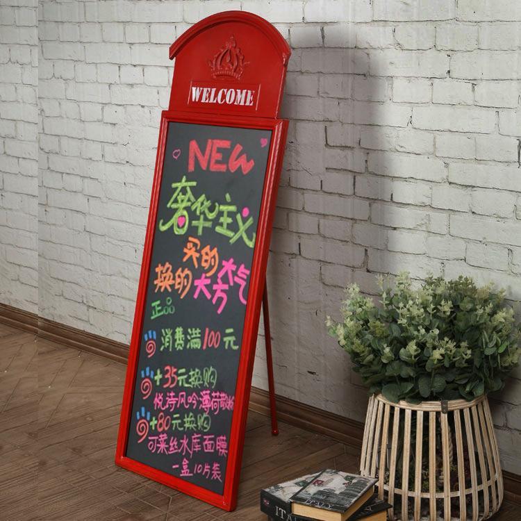 手工鐵藝懷舊造型立式小黑板掛式廣告板 英倫工業風軟裝 牆壁掛飾  免運 可開發票 【易購生活館】