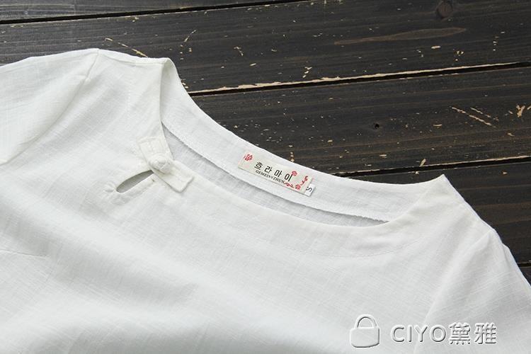 免運 可開發票 春夏民族風女裝襯衫亞麻短袖T恤寬鬆棉麻七分袖百搭上衣女 「新百匯」xb