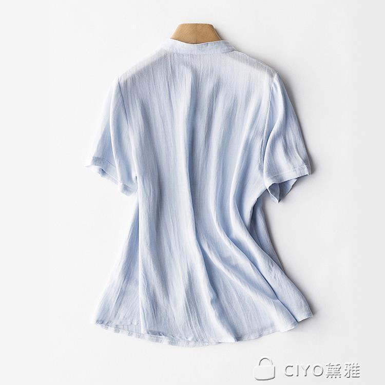 免運 可開發票 文藝范棉麻襯衫女白色v領外穿打底衫夏季寬鬆大碼百搭短袖女上衣 「新百匯」xb