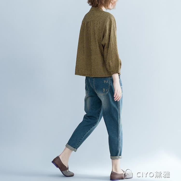 免運 可開發票 棉麻格子襯衫女新款秋裝打底衫顯瘦大碼寬鬆下擺繫帶立領上衣 「新百匯」xb