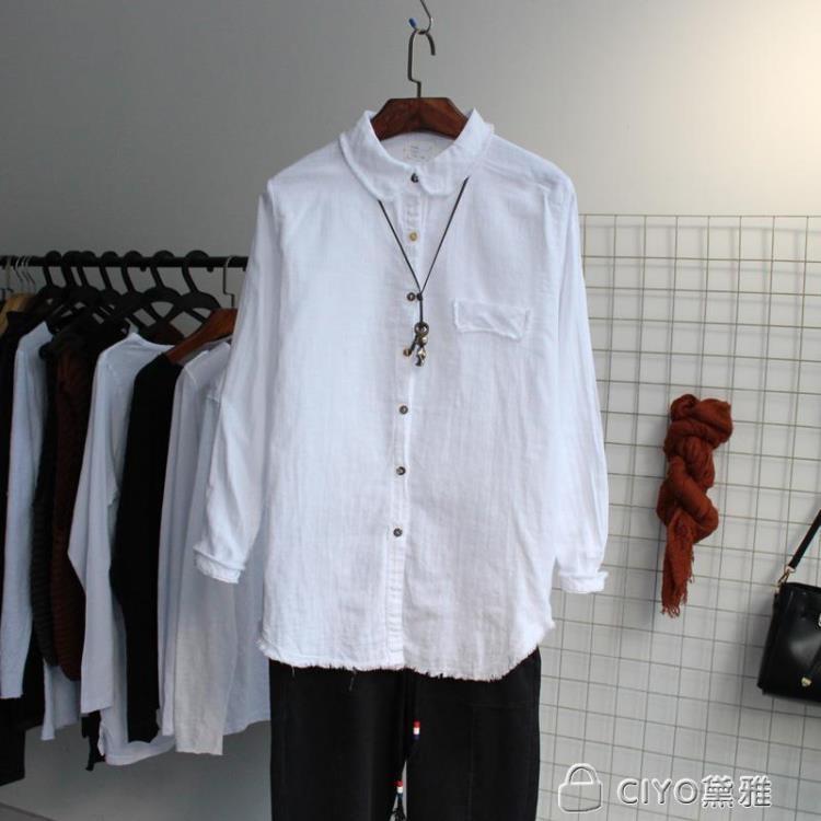 免運 可開發票 文藝棉質襯衫女翻領長袖打底寬鬆顯瘦春裝新款棉麻上衣 「新百匯」xb