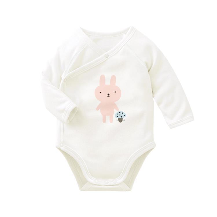 棉嬰兒連體衣寶寶三角哈衣包屁衣雙層護肚新生長袖爬服  免運 可開發票 【易購生活館】
