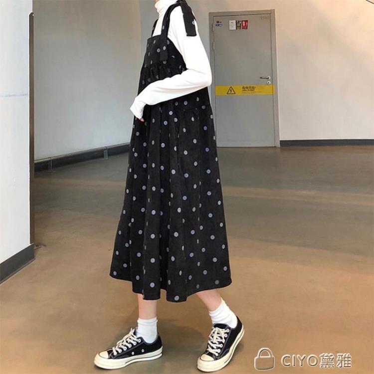 免運 可開發票 法式背帶復古裙山本燈芯絨超仙過膝很仙波點連身裙洋氣裙子女 「新百匯」xb