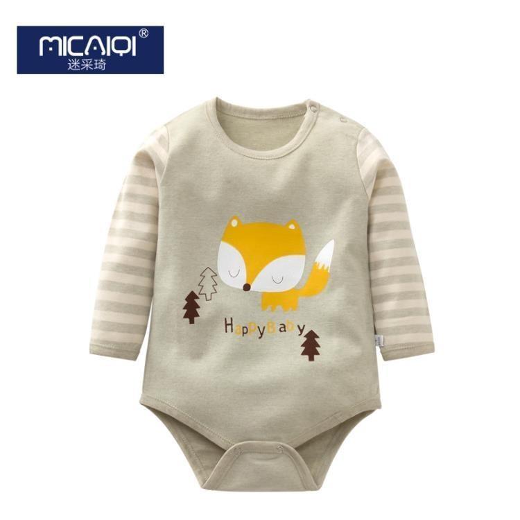 新生兒男女寶寶長袖三角哈衣嬰兒睡衣兒童彩棉連體衣爬行服包屁衣  免運 可開發票 【易購生活館】