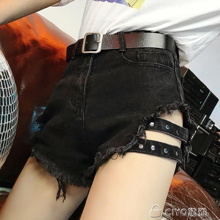 免運 可開發票 韓版cic黑色破洞牛仔短褲女夏季大碼高腰顯瘦性感女士學生熱褲潮 「新百匯」xb
