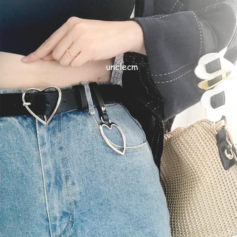免運 可開發票 女生皮帶   腰帶女風簡約百搭裝飾洋裝韓版金屬愛心環皮帶學生牛仔褲帶黑 「新百匯」xb