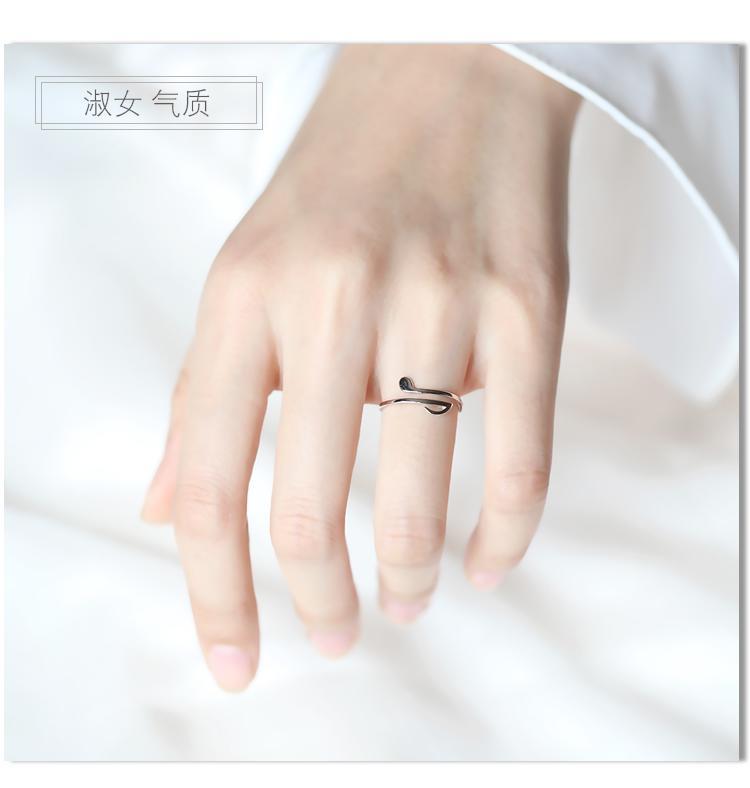 免運 可開發票 音符戒指女純銀開口可調節食指指環戒子韓國簡約 「新百匯」xb