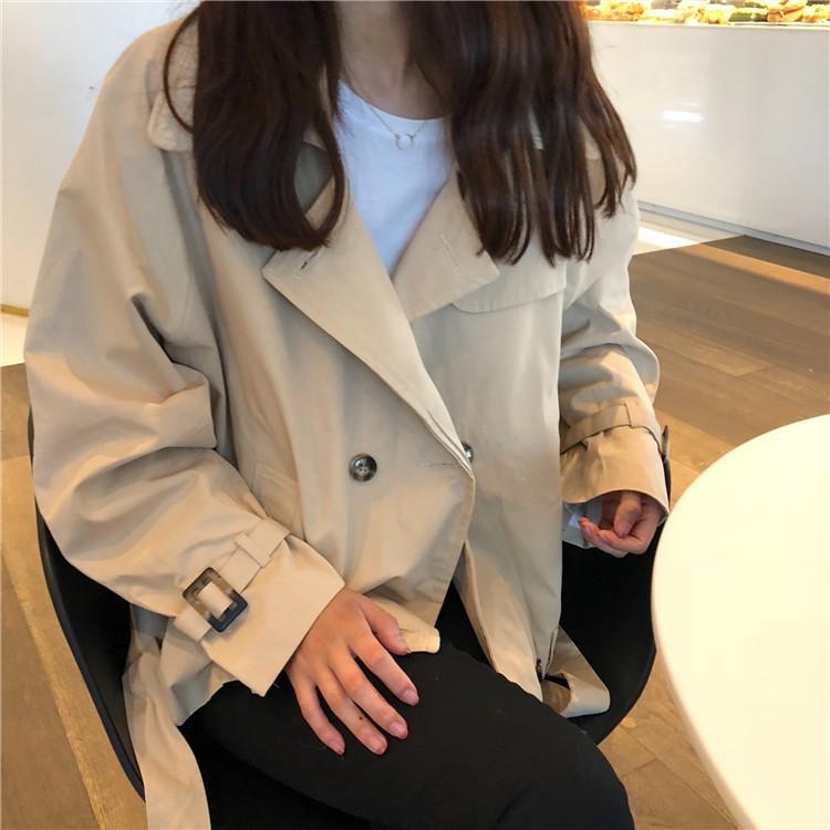 秋季女裝寬鬆簡約純色工裝風衣學生長袖休閒夾克開衫上衣外套  免運 可開發票 【易購生活館】
