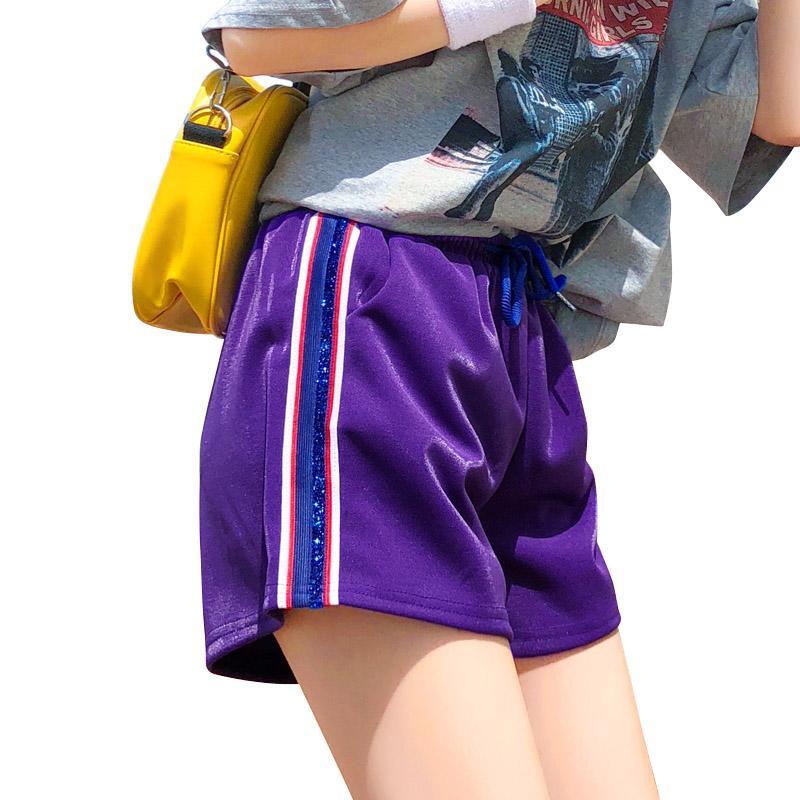 免運 可開發票 休閒短褲女夏新款韓版寬鬆 學生百搭闊腿高腰顯瘦白色運動熱褲 「新百匯」xb