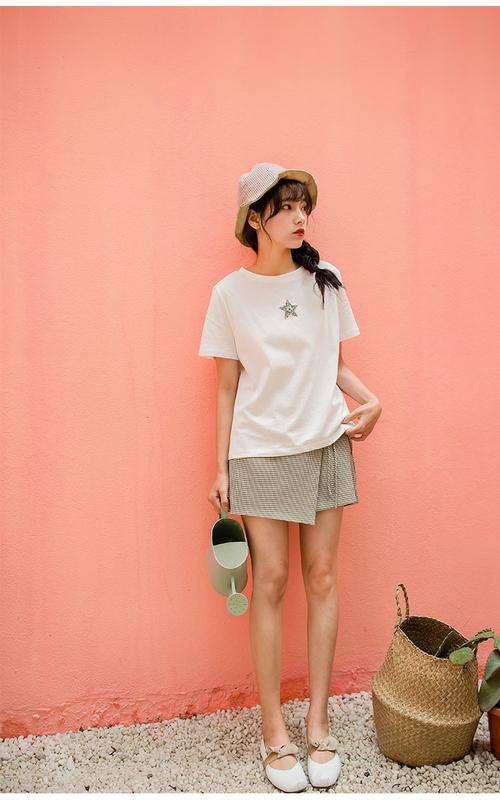 免運 可開發票 年夏裝新款印花短袖T恤女學生高腰A字裙褲短裙 「新百匯」xb