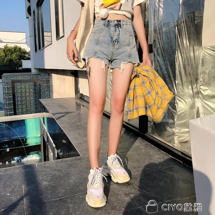 免運 可開發票 牛仔短褲女夏新款韓版顯瘦寬鬆高腰cic復古a字闊腿熱褲 「新百匯」xb