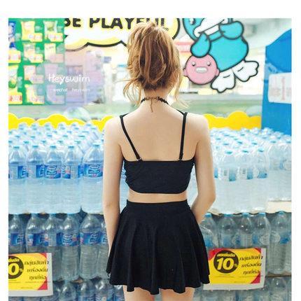 泳衣性感比基尼小清新女三件套溫泉性感高腰裙式小香風  免運 可開發票 【易購生活館】