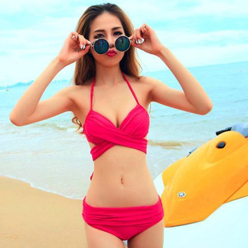 泳衣比基尼熒光色比基尼游泳衣泡溫泉性感女泳裝  免運 可開發票 【易購生活館】