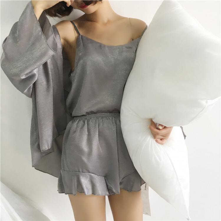 春季新款睡衣套裝女短款吊帶衫木耳邊短褲家居服三件套  免運 可開發票 【易購生活館】