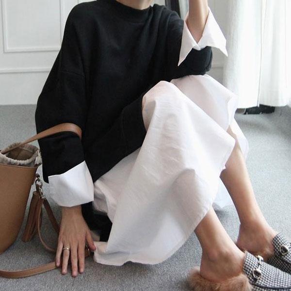 孕婦裝秋季時尚款寬鬆長袖拼襯衫孕婦衛衣連衣裙  免運 可開發票 【易購生活館】
