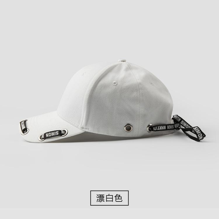 溢彩棒球帽女韓國潮街頭雙側長飄帶嘻哈帽戶外遮陽純黑白色鴨舌帽  免運 可開發票 【易購生活館】