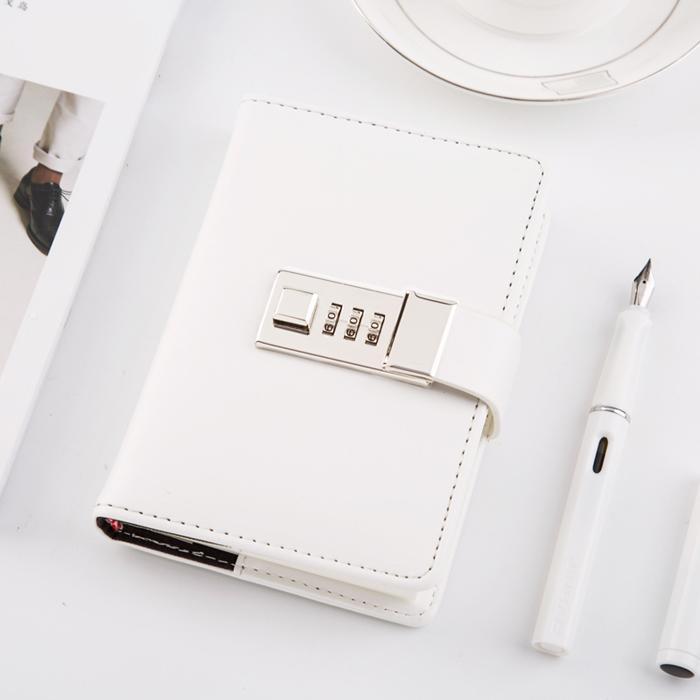 創意A7便攜黑白帶鎖密碼手賬本簡約口袋日記本記事本子  免運 可開發票 【易購生活館】