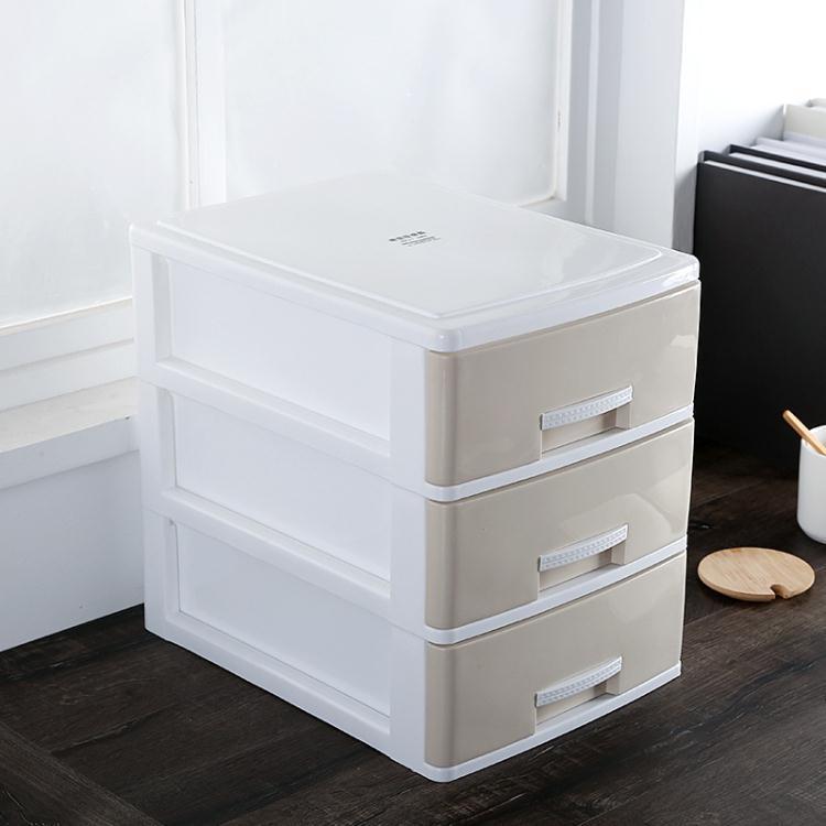 辦公桌面收納盒簡約塑料小抽屜式收納櫃書桌上學生文件雜物儲物箱  免運 可開發票 【易購生活館】