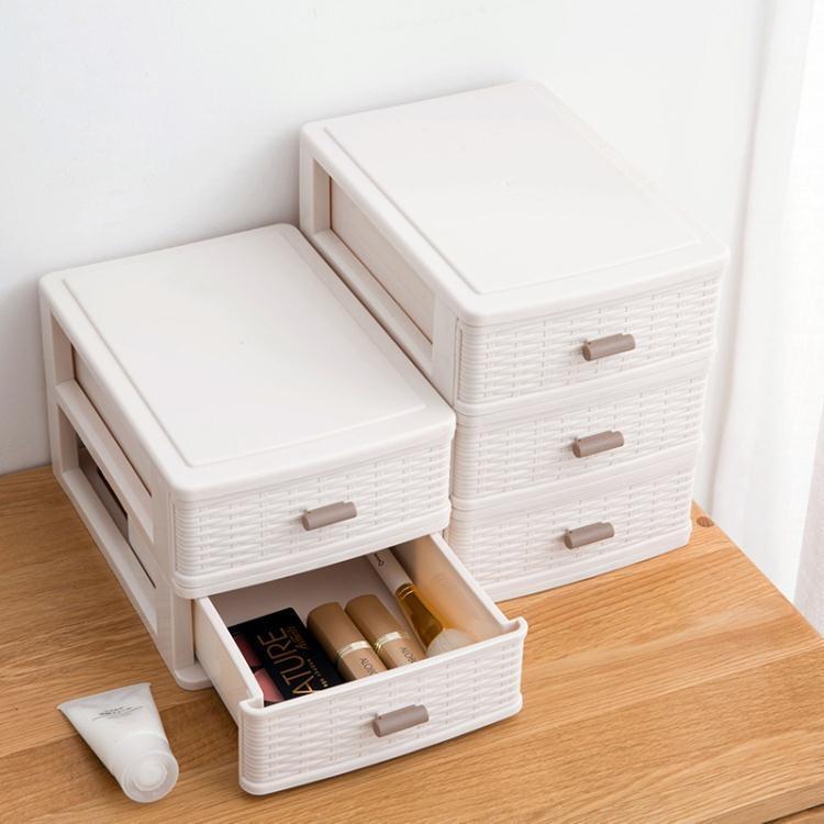 抽屜式多層桌面化妝品收納盒化妝盒辦公桌文具塑料置物架整理盒  免運 可開發票 【易購生活館】