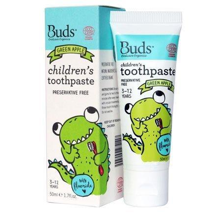 🐻 板橋統一婦幼百貨 🐻 Buds 芽芽有機 兒童牙膏-青蘋果50ml (3-12歲)