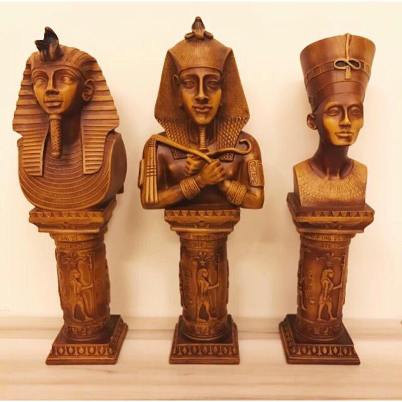 原木色澤雕刻埃及法老雕像 居家家飾 擺飾