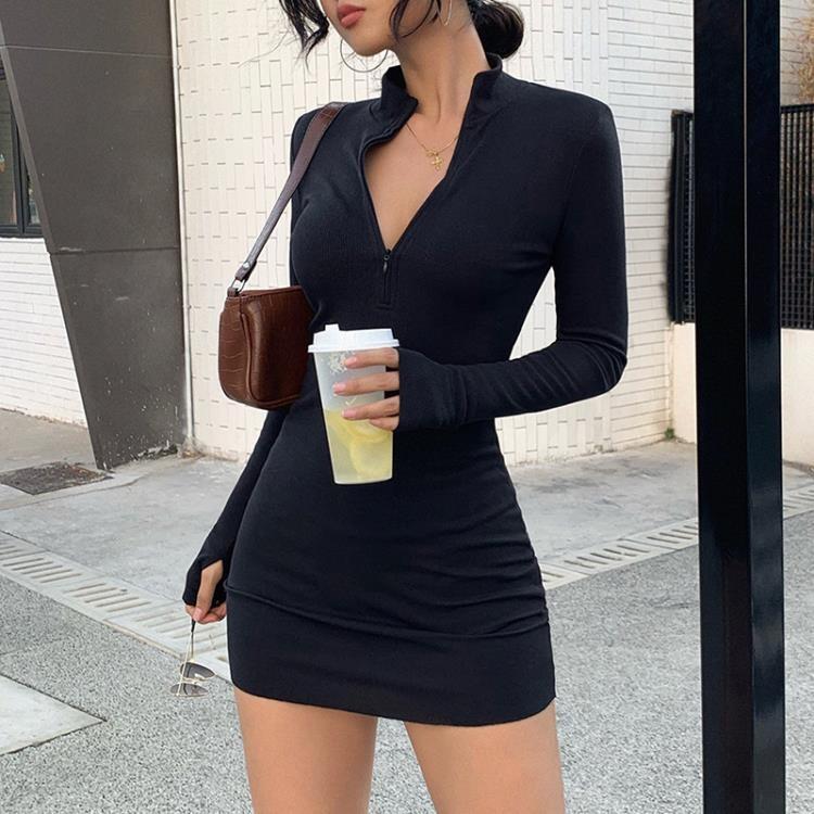 洋裝 歐美性感緊身長袖連衣裙冬季百搭拉鏈半開領修身包臀裙