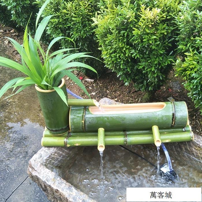 別墅庭院造景招財擺件 竹流水石槽魚缸水池加濕過濾器竹子流水器   極限SPORT