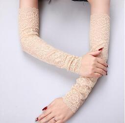 彈力蕾絲長款防曬手套女遮疤遮紋身夏手腕裝飾手臂套開車護腕袖套